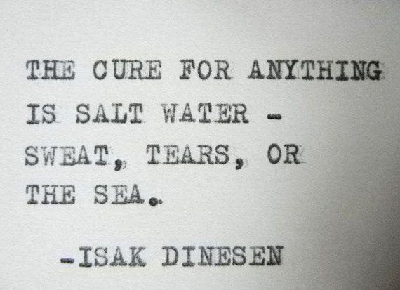 SALT WATER Quote Isak Dinesen Quote typewriter quote on Etsy, £4.26