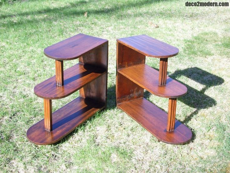 Vintage Matching Pair Art Deco Step End Tables Walnut Three Tiered Stands