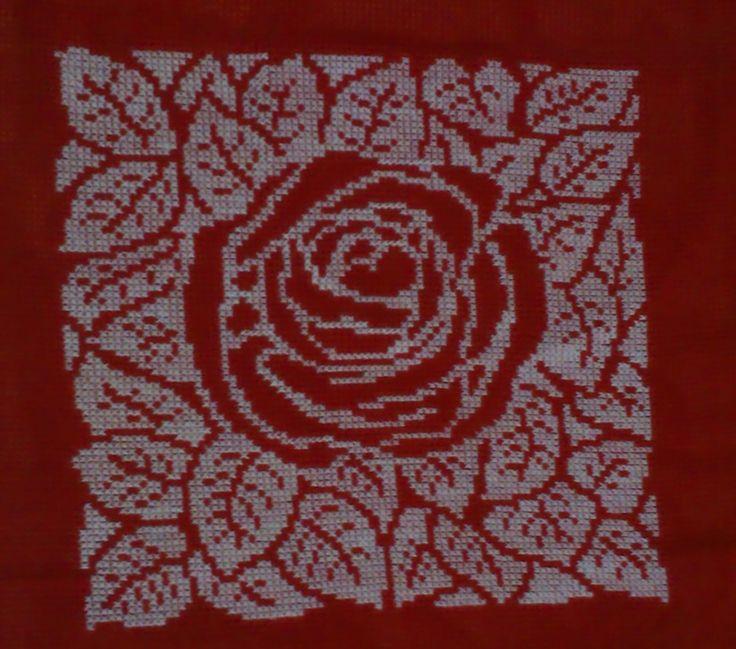 Rose, Cross Stitch, Cushion Cover