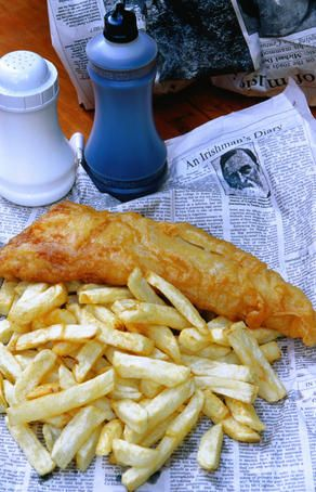 A gourmet delight of fish and chips and old newspapers - Galway, County Galway