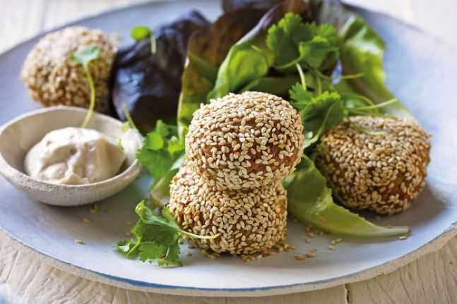 Sunflower Seed Falafel Balls with Tahini Dipping Sauce - WellBeing Magazine   WellBeing.com.au