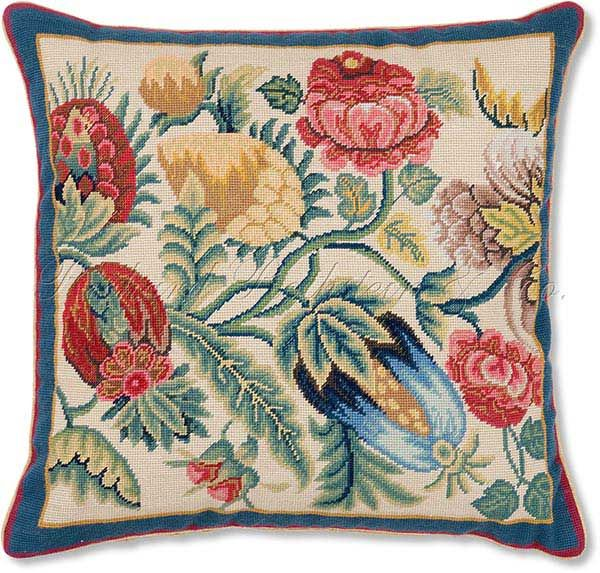 Fruit and Flowers Needlepoint Pillow. Flowers and Fruit 1 Needlepoint Pillow - Floral Pillows at NeedlepointPillows.com