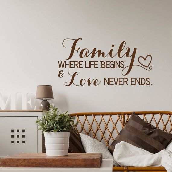 Family Wall Decal Quote Family Where Life Begins And Love Etsy Family Wall Decals Quotes Wall Stickers Quotes Family Family Wall Decals