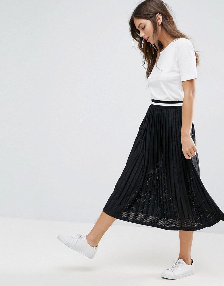 ASOS Perforated Pleated Midi Skirt with Sports Tipped Waistband - Blac