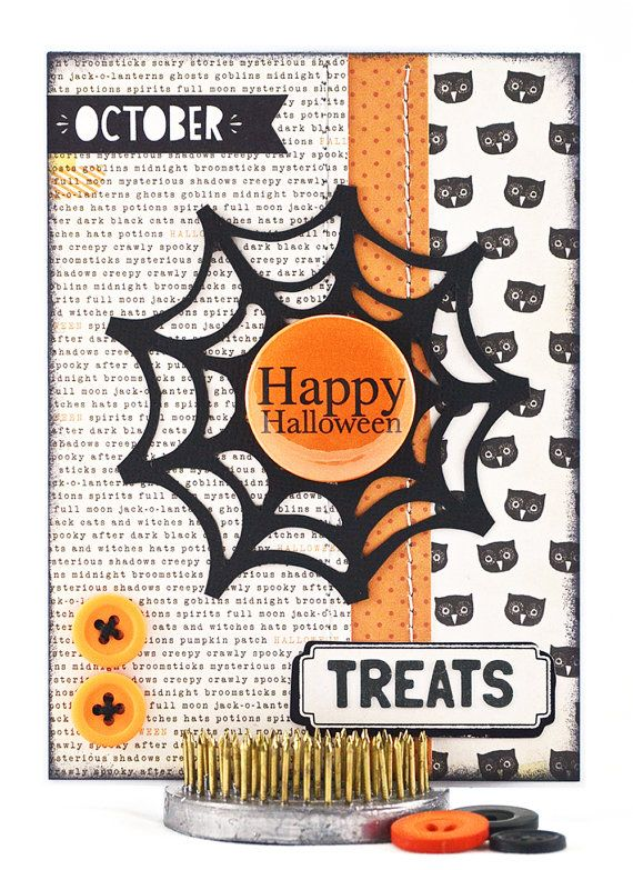This handmade Halloween card was designed with classic holiday colors of orange and black. Because it's not scary, this would be perfect for a kids Halloween card. #thecardkiosk