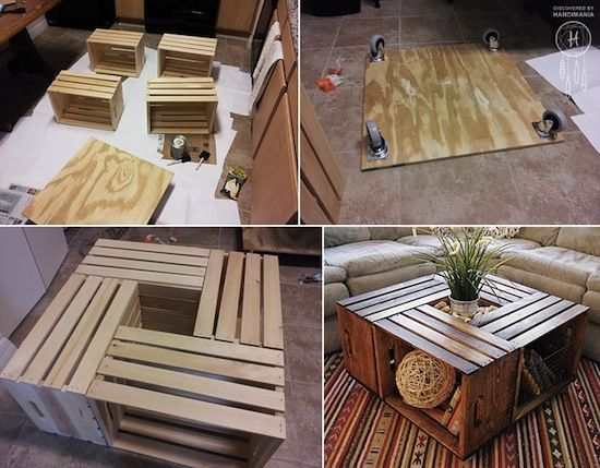 This crate coffee table is beautiful with ample storage space. Even better is the fact that this baby is on casters for easy maneuvering!