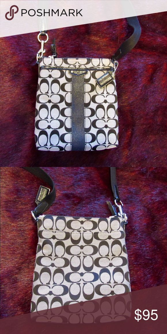 Coach Swingpack Signature Fabric Purse Signature fabric with leather trim and convenient slip pocket on the side. Gently used. Coach Bags Satchels