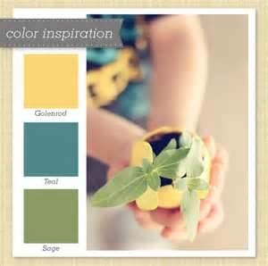 Love the Sage and Yellow together! Silver and the teal will be great accent colors as well!
