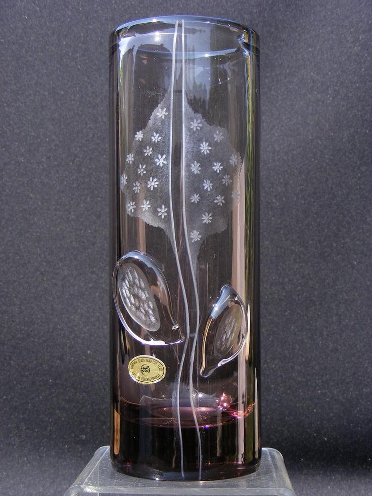 Zelezny Brod vintage engraved glass vase. £50.00, via Etsy.