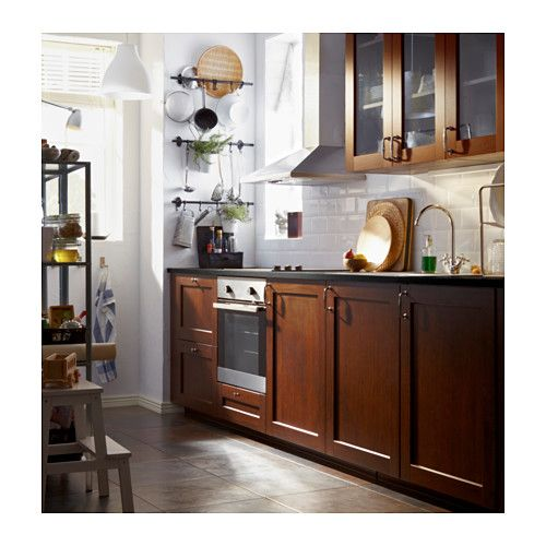Ikea Kitchen Wood Cabinets: EDSERUM Glass Door, Wood Effect Brown