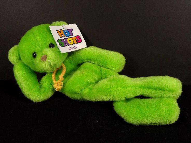 Gund Hot Shots Green Bear 2442 Hang Tush Tags Plush Plastic Pellets #Gund #HotShotsgreenbear
