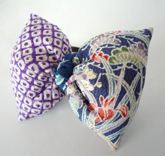 Kawaii Ponytail Holder Silk Kimono Puff Ribbon by tomoandedie, $13.98