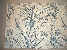 """Asian Ivory Blue Valance 106x26"""" White Lined 3"""" Rod Pocket, 2"""" Hdr Iris Floral  $19.95"""