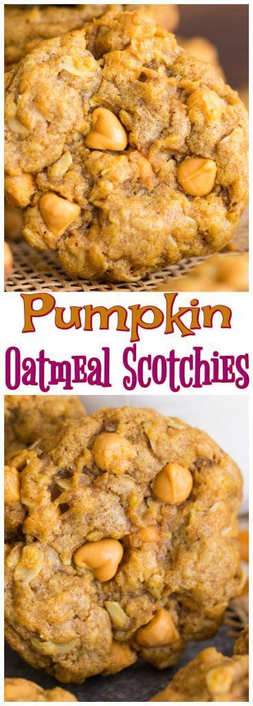 Thick, soft, chewy oatmeal cookies, bolstered with pumpkin and spices, and loaded with creamy butterscotch chips! Try them once, and Pumpkin Oatmeal Scotchies will become a new fall classic!