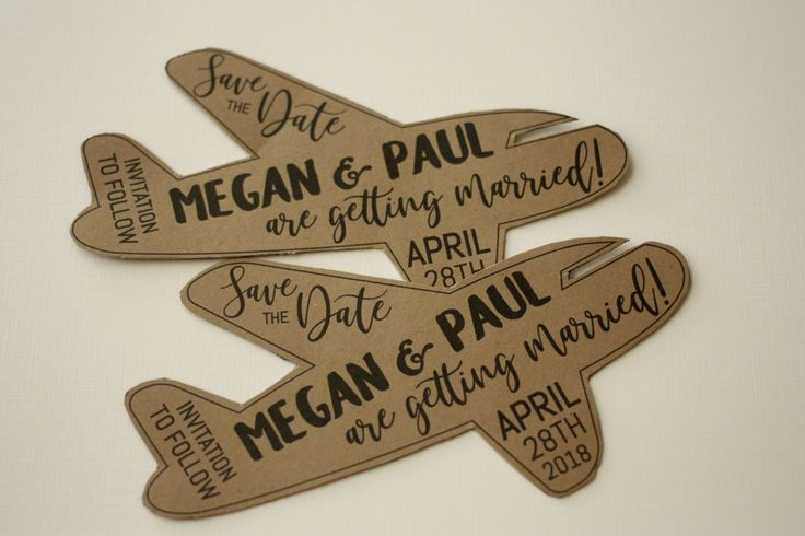 Fun Shaped Save the Date Airplane. Click through to find matching games, favors, thank you cards, inserts, decor, and more.  Or shop our 1000+ designs for all of life's journeys. Weddings, birthdays, new babies, anniversaries, and more. Only at Aesthetic Journeys