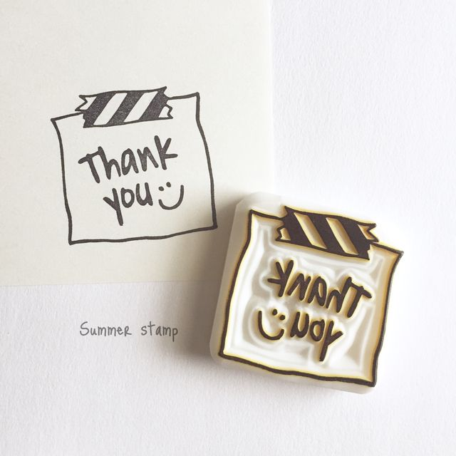 THANK YOU WASHI TAPE NOTE - hand carved stamp