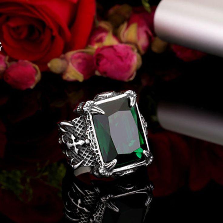 316L Stainless Steel Warrior Ring Mens Jewelry Emerald Zircon Gem Size 7-13