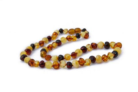 Adult Amber Necklace - Multicoloured Baroque – by Amberocks. Baltic amber. Due to their calming effect as well as anti-inflammatory properties, they are perfect for pregnant women too! They measure approximately 45cms in length. If you would like a longer necklace, a child's bracelet can be added for an additional 14cm of length. Why not get one to match your childs! Each bead is individually knotted