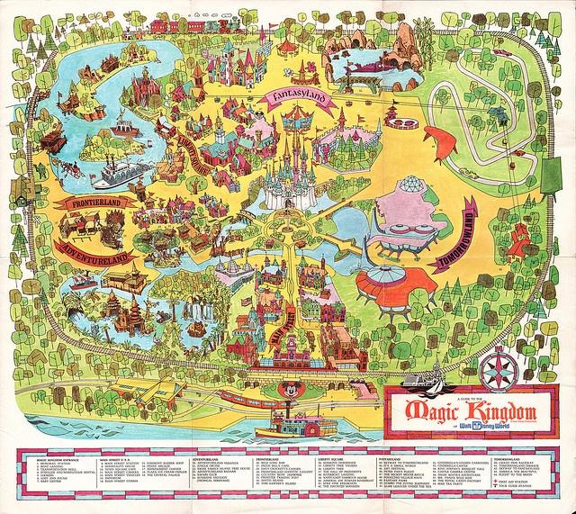 Vintage Walt Disney World poster - Magic Kingdom map.