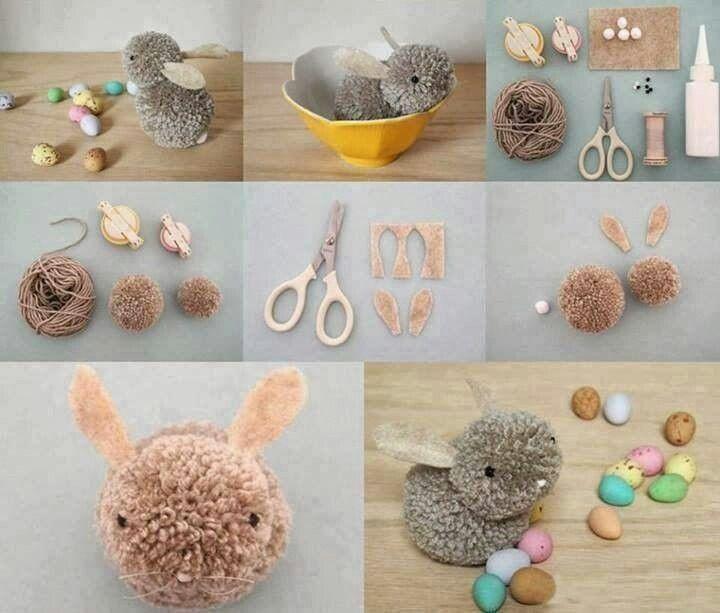 Conejito hecho con pompones de lana manualidades - Manualidades con pompones ...