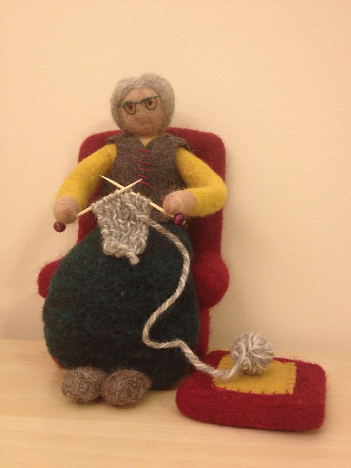 Needle Felted Granny Sitting in an Armchair childhoodin.me