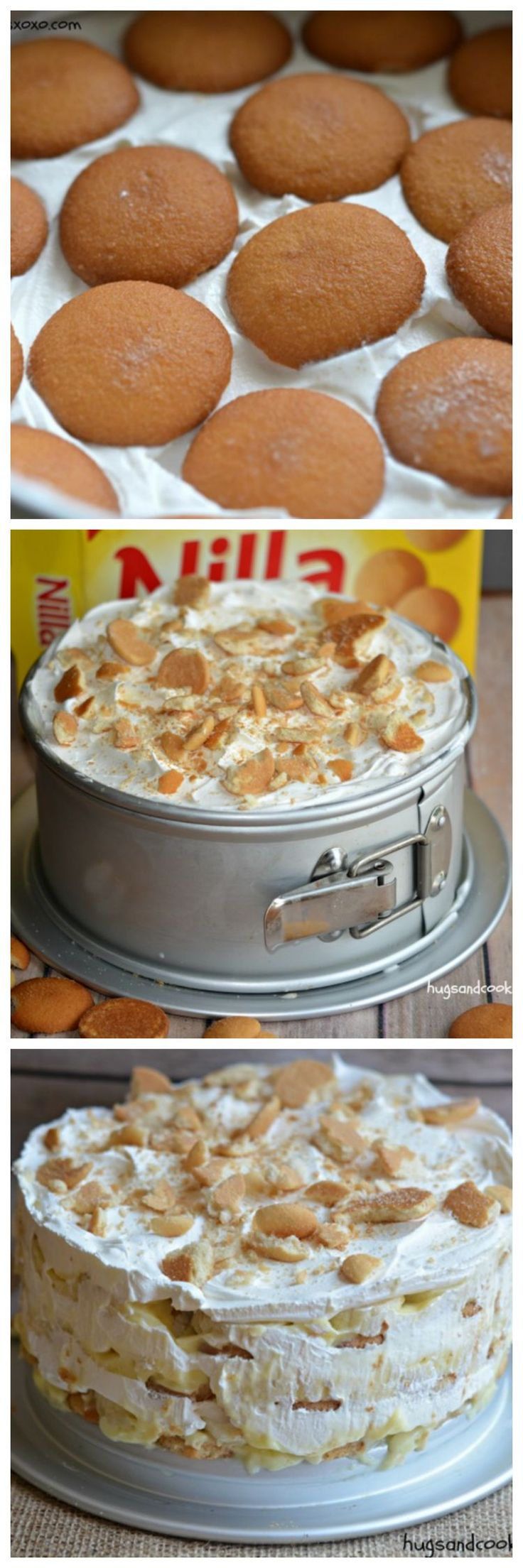 banana ice box cake. Ingredients: Nilla wafers, milk, banana pudding, cool whip, bananas