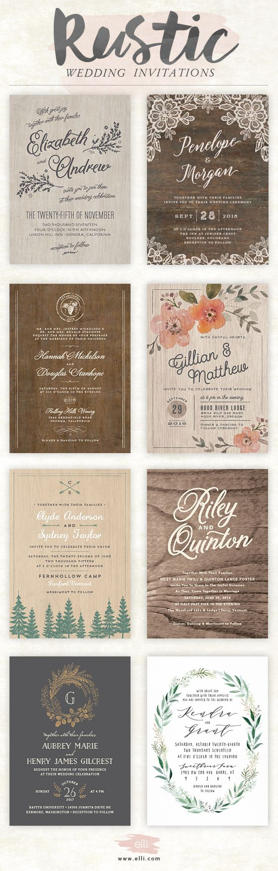 real simple unique wedding invitations%0A Find rustic wedding invitations at Elli com  Free customization and  unlimited proofs
