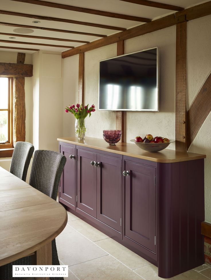 The Plum Media Unit In The Dining Area Of This Kitchen Design Contrasts  From The Cream. Kitchen Colour SchemesKitchen ...