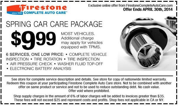 You can get Firestone coupons for $9.99 spring car care package, service includes: tire rotation, vehicle inspection check, tire check and air pressure check.