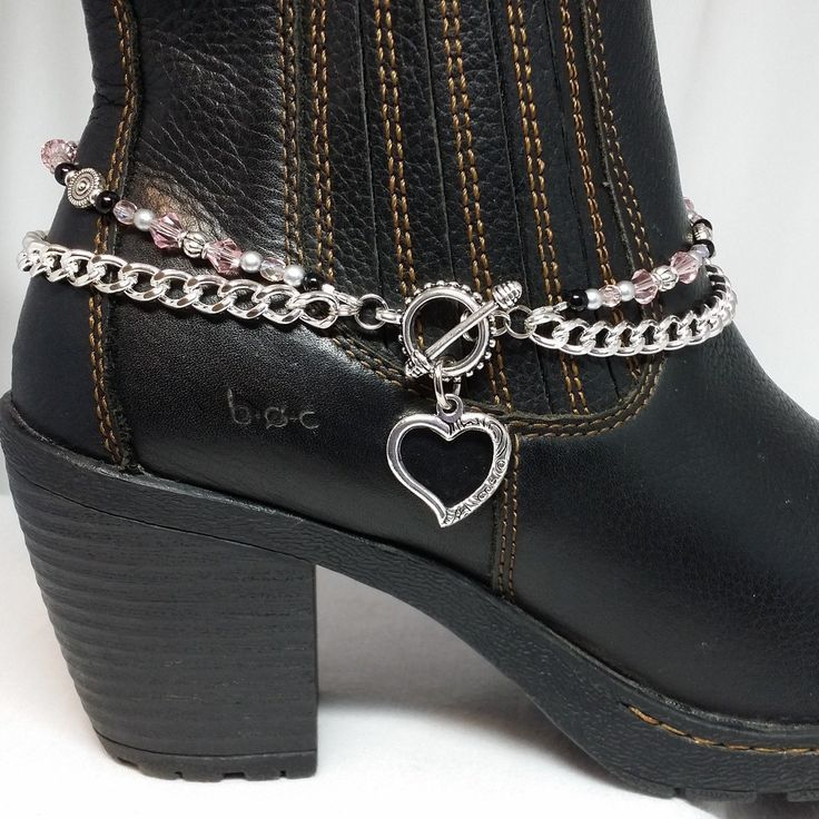 Boot Bling Bracelet Anklet Jewelry Chain Open Heart Charm Double Strand Beaded Cowboy Biker Chick Motorcycle Boots Custom Colors Toggleclasp