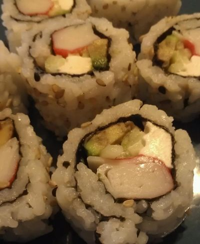 Cream Cheese Crab Sushi Roll. It was cheap and easy to make.