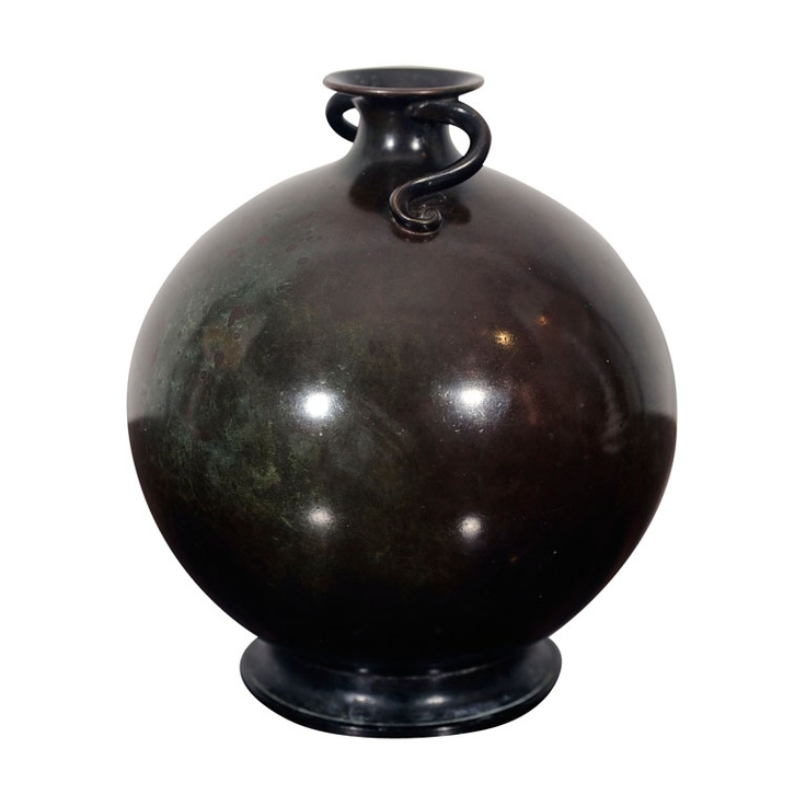 Fine & Rare Patinated-Bronze Vase by Just Andersen