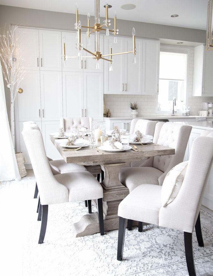 Elegant Gold And White Christmas Kitchen Decor Ideas Christmas Dining Table Decor Christmas Kitchen Decor Christmas Dining Table