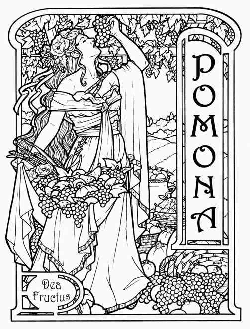 pomona roman vineyard goddess challenging coloring pages for adults