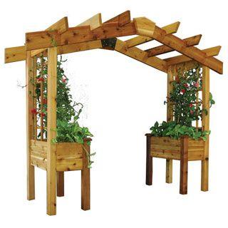 La Pérgola es simultáneamente un par de plantadores, un arco robusto, y un enrejado para plantas trepadoras.Como se puede apreciar es trasladable.