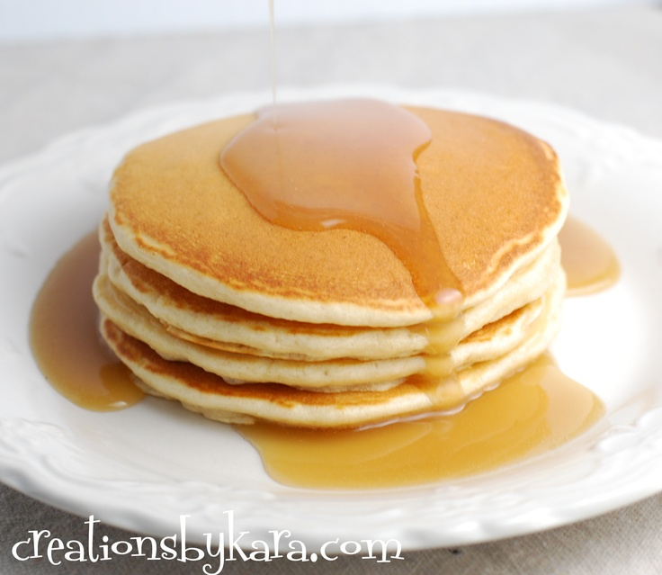 Creations by Kara:  Restaurant Style Pancakes--These are fluffy, tender, and delicious. A secret ingredient makes all the difference!