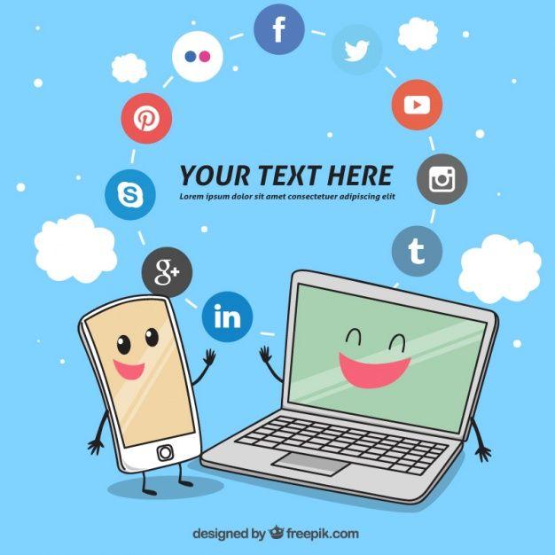 Fondo de aparatos tecnológicos con iconos de redes sociales Vector Gratis
