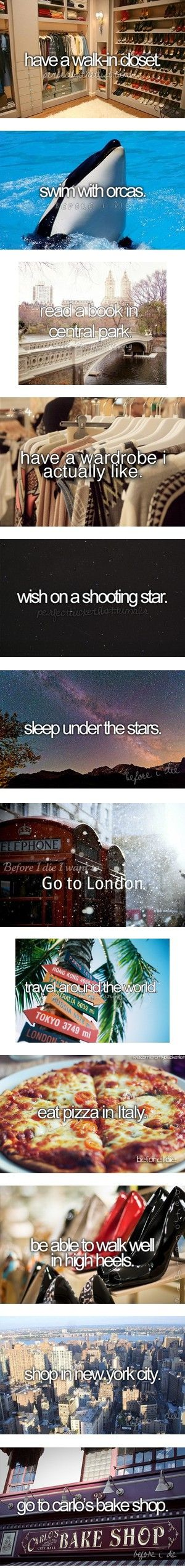 Things to Do Before I Die: I've done three - eaten pizza in Italy, worn high heel shoes, and wished on a shooting star.