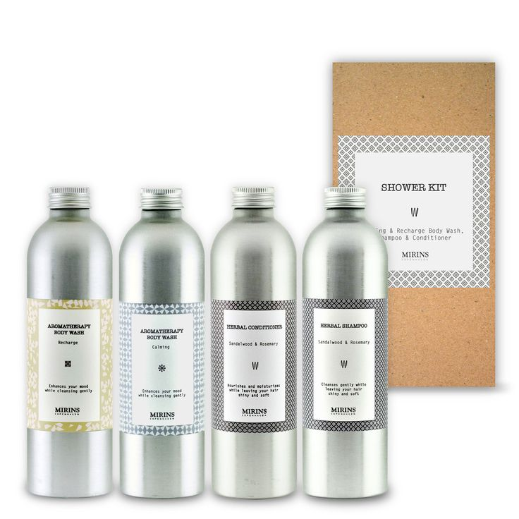 Shower Kit  Our Shower kit contains a full size  shampoo, conditioner and 2 types of body washes: one calming for at night, one recharging for in the morning!   Includes Body wash Calming - 250 ml,  Body wash Recharge - 250 ml, Shampoo sandalwood and rosemary- 250 ml and Conditioner sandalwood and rosemary - 250 ml