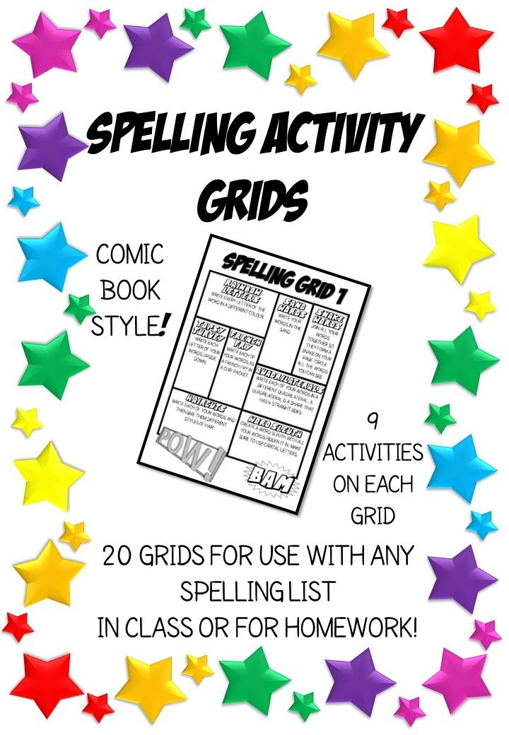 Spelling Activity Grids. For any list. Comic Book style. Homework or class.