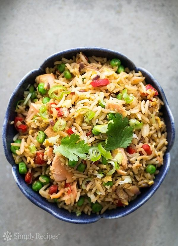 Salmon Fried Rice ~ Have leftover rice and cooked salmon? Make salmon fried rice! Comes together in minutes. Easy and so good! ~ SimplyRecipes.com