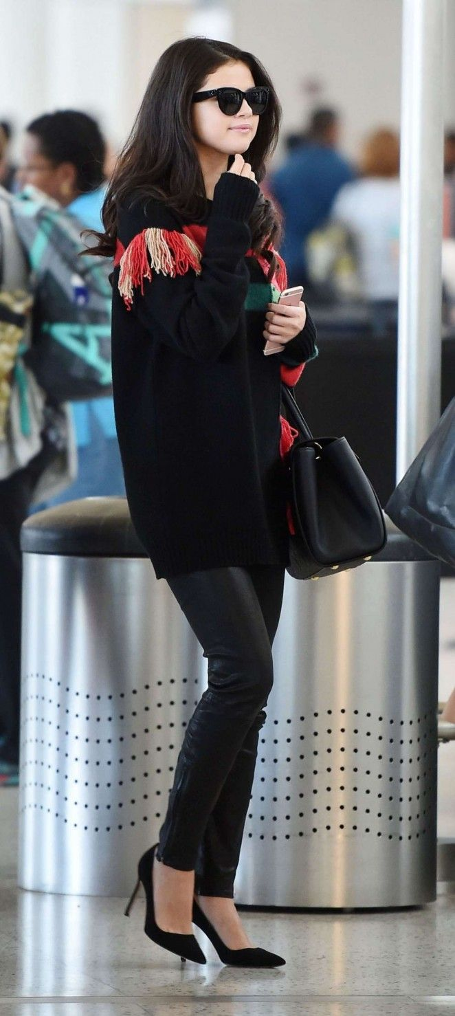 Selena Gomez in Leather Pants at JFK Airport in NY