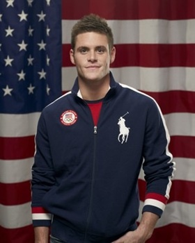 Pledge of Allegiance 2012; David Boudia and Team USA honor the flag on Flag Day.