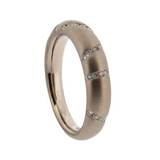 White gold and diamond tapered court wedding ring