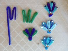 Peacock Girl Scout SWAPS (national bird of India) that we made for Thinking Day - Troop 3403 GSHNC U3.