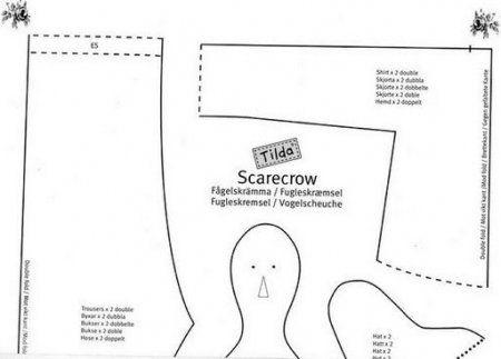 Тильда Садовое Пугало или Tilda Scarecrow: выкройка и мастер класс по шитью