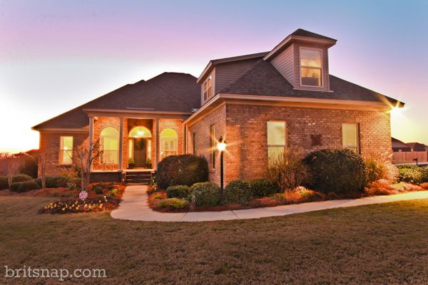 outdoor photos of the house at dusk
