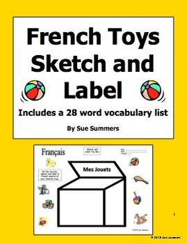 french toy box sketch and label activity worksheet with toys vocabulary list by sue summers. Black Bedroom Furniture Sets. Home Design Ideas