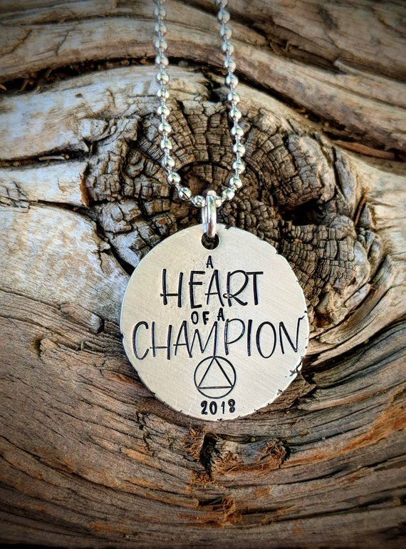 Recovery Gifts for Men AA NA Sobriety Necklace Sober Alcoholics Anonymous Jewelry Addiction One day at a time Personalized NA Encouragement