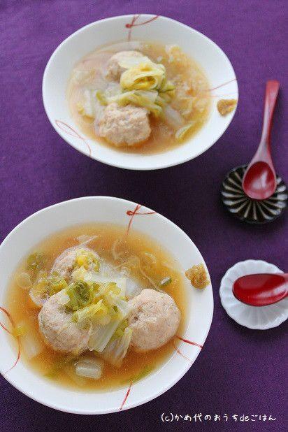鶏だんごのトロトロ白菜あん 出汁いらずのあったかスープ|かめ代オフィシャルブログ「かめ代のおうちdeごはん」Powered by Ameba